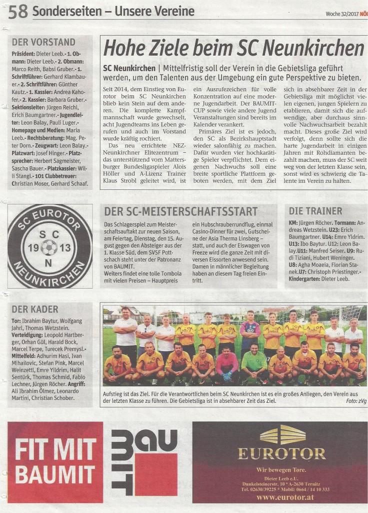 Hohe Ziele beim SC Neunkirchen