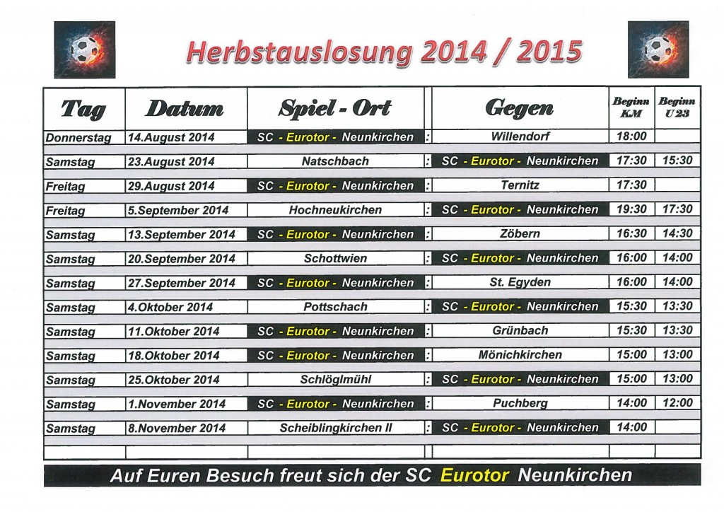 Spielplan 2014-15